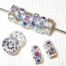 20 Swarovski Rondelles 7mm Silver / Crystal AB SR703