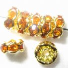 20 Swarovski Rondelles 5mm Gold / Topaz -- SR571