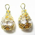 12 Swarovski Rhinestone Pendants 10mm Gold/Crystal