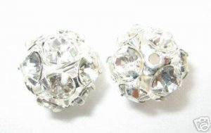 4 14mm Swarovski Rhinestone Ball Silver/ Crystal RB1401