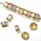20 Swarovski Rondelles 5mm Gold / Crystal AB  SR504