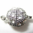 5 10mm Swarovski Ball Screw-in Rhodium Clasps  K51R