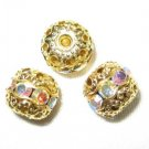 12 6mm Swarovski Rhinestone Beads Gold/Crystal AB RH604