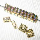 20 Swarovski Squaredelles Beads 6x6mm Gold/Crystal AB