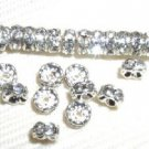 100 Swarovski Rondelle Spacer Beads 5mm Silver/Crystal