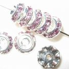 20 Swarovski Rondelle Buttom 8mm Silver/Light Amethyst