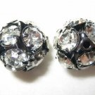 4 14mm Swarovski Rhinestone Ball Black / Crystal