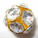 2 Swarovski Rhinestone Balls 18mm Gold / Crystal  T43