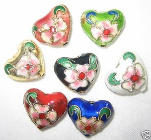 Sale! 50 New 14x16mm Mixed Heart Cloisonne Beads
