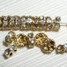 30 Swarovski Rondelle Spacer Beads 6mm Gold/Crystal