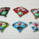Sale! 50 New 12x18mm Fan Mix Handmade Cloisonne Beads