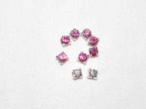 144 4mm Rhinestone Silver/Rose Pink Slider Beads - T71