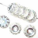 10 Swarovski Rondelle Button 10mm Silver/Crystal CM1001