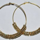 3.5'' Large Rhinestone Hoop Gold Earrings Basketball Wives - E32A