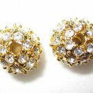 2 10mm Swarovski Rhinestone Pave Ball Gold/Crystal AS13