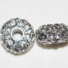 2 14mm Rhinestone Rhodium/Crystal Spacer Beads T56R