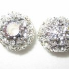 2 12mm Swarovski Pave Ball Beads Silver/Crystal AS11
