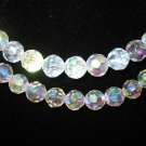 2  Strands 10mm Genuine Crystal Beads Faceted Clear AB