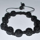 Swarovski Jet Black 12mm Pave Ball Shamballa Bracelet  AS80