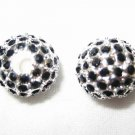 2 10mm Swarovski Pave Ball Beads Silver/Jet Black AS18