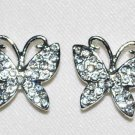 4 Rhinestone Rhodium/Crystal Butterfly 17mm Q45