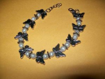 Pearl and Silver Butterfly Bracelet