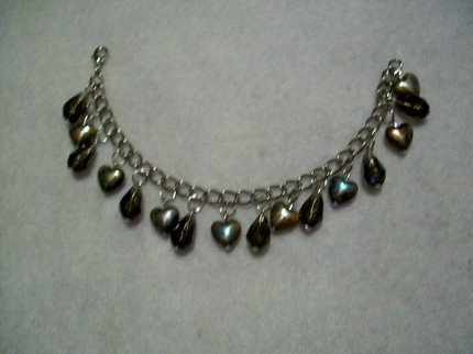 Brown Tear Drop/Heart Dangle Bracelet