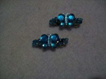 Aqua Blue Glass Barrettes