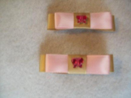 Pink and Brown Satin Butterfly Barrette