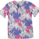 New Scrubs - Flower Opposite V-Neck Print Scrub Top  medium