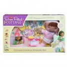 PLAYSKOOL DREAM TOWN ROSE PETAL Cottage COTTAGE CUDDLES NURSERY SET (African American Doll) New