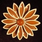 Enamel Flower Pin/Brooch Brown/White STUNNING!