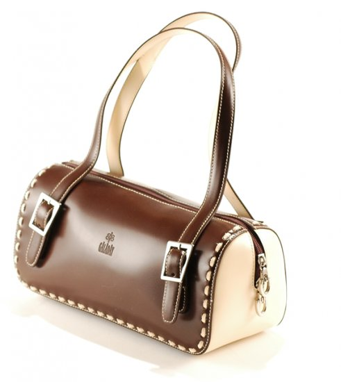Galaday Coffee and Cream colored Italian Crystal Leather Handbag