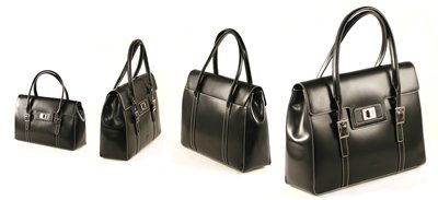 Black Italian Crystal Leather Executive HandBag
