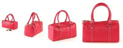 Rose Red Italian Soft Leather with Square Shape