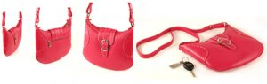 Rose Red Italian Soft Leather Flat Shoulder Bag