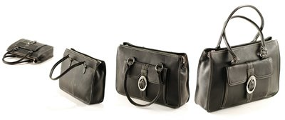 Black Italian Soft Leather with Side Pouch and Rhinstones