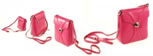 Pink Italian Crystal Leather Small Shoulder Bag
