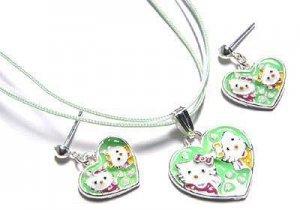 Hello Kitty Heart Necklace & Earrings Trio Set