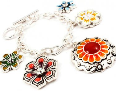 9k Filled Exotic Flower Link Charm Bracelet