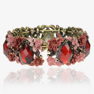 Floral Retro Copper Open Cuff Vintage CZ Gemstone Bangle Bracelet