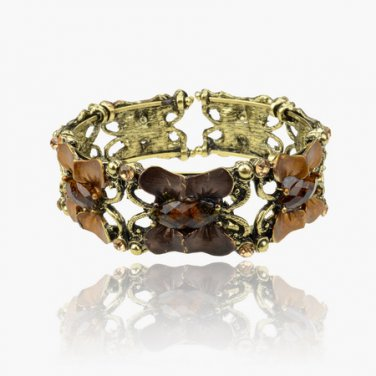 Vintage Copper & Brown Rhinestone Retro Open Cuff Gemstone Butterfly Bangle Bracelet