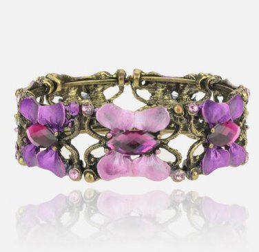 Vintage Copper & Purple Rhinestone Retro Open Cuff Gemstone Butterfly Bangle Bracelet