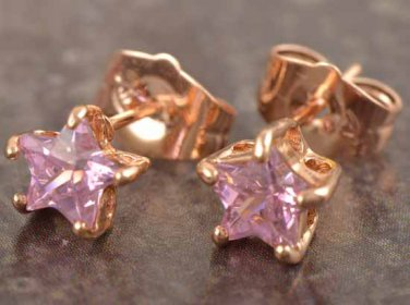 9k Rose Gold Filled Pink Crystal Star Earrings