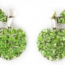 Lime Green Crystal Apple Earrings