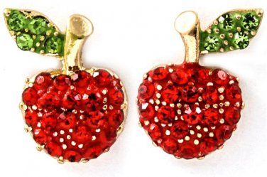 Red Crystal Apple Earrings