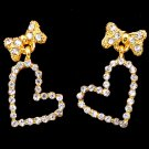 Bow and Clear Crystal Stud Filled Heart Earrings