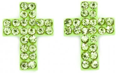 Lime Crystal Cross Earrings