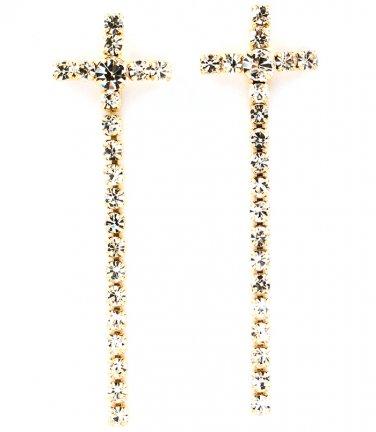 Crystal Stud Cross Linear Earrings