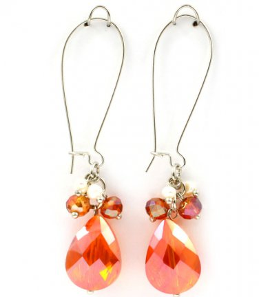 Tangerine Acrylic Teardrop Charm Earrings